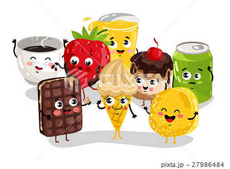 Funny sweet food and drink character set 27986484