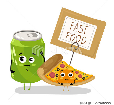 Funny pizza slice and soda can cartoon character 27986999