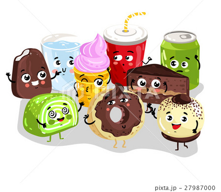 Funny sweet food and drink character set 27987000