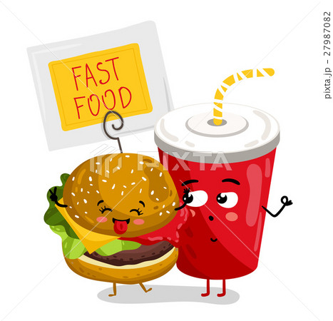 Funny take away glass and burger cartoon character 27987082