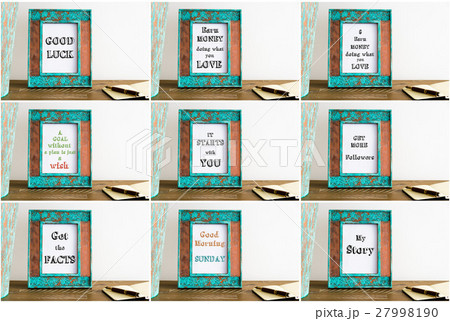 Collage of photo frames with motivational textsの写真素材 [27998190] - PIXTA