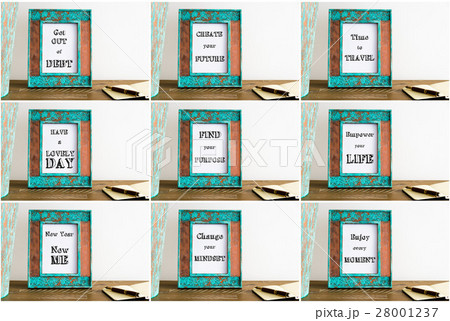 Collage of photo frames with motivational textsの写真素材 [28001237] - PIXTA
