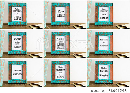 Collage of photo frames with motivational textsの写真素材 [28001243] - PIXTA
