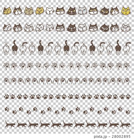 いろいろな種類の猫、猫しりや肉球の飾り罫線 28002895