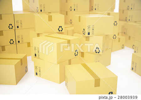 Stack of cardboard boxes isolated on white 28003939