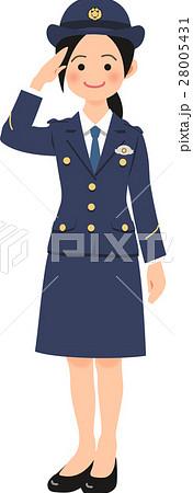敬礼する女性警察官 28005431
