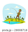 Man fishing with rod, catching vector fish on hook 28008718