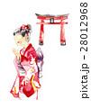女の子 着物 神社のイラスト 28012968