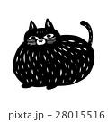 判子にも使える彫刻・版画・切り絵風の猫のイラスト素材 28015516