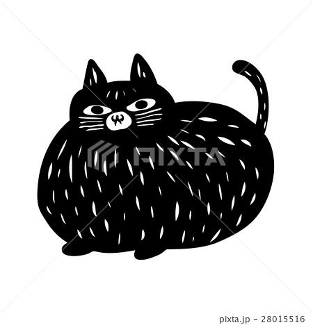 判子にも使える彫刻・版画・切り絵風の猫のイラスト素材
