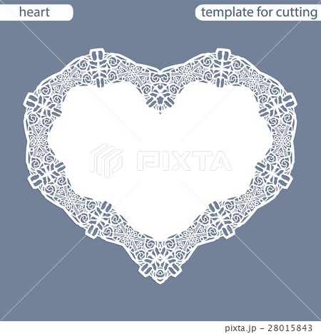 paper doily under the cake template of heartのイラスト素材