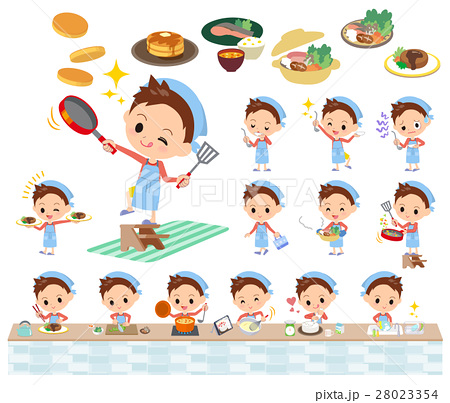 Red clothing short hair boy cooking 28023354