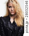 beautiful blond girl in leather coat 28032546