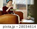 女性 朝食 昼食の写真 28034614