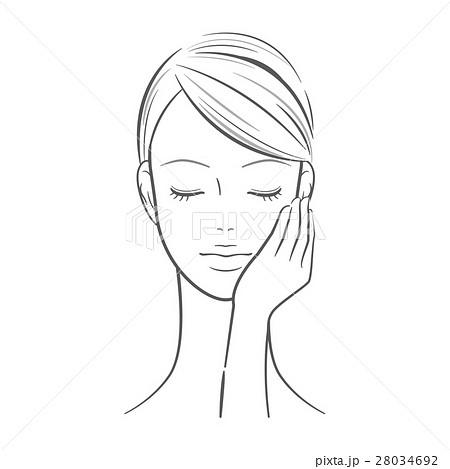 女性_左手を顔に当てた女性 28034692