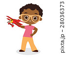 African American boy with glasses and toy plane. 28036373