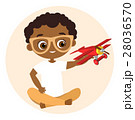 African American boy  playing with airplane. 28036570