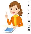 タブレット端末 女性 説明のイラスト 28040304
