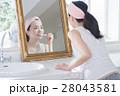 歯磨きする鏡越しのすっぴん20代女性 28043581