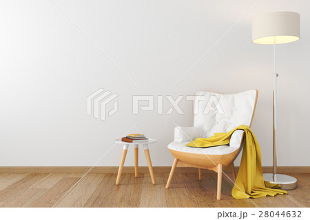 White leather wood armchair in empty room.のイラスト素材 [28044632] - PIXTA
