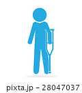Injured men and crutches sign icon 28047037