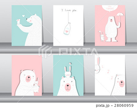set of cute animals poster design for valentineのイラスト素材