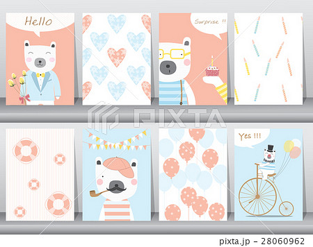 set of cute animals poster template cards bear veのイラスト素材
