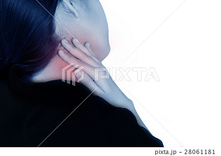 women has the sore throat on white background. 28061181