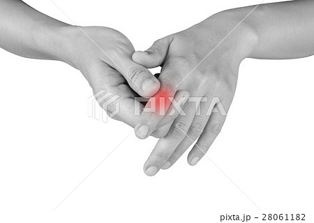 women has he painful finger on white background. 28061182