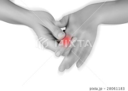 women has he painful finger on white background. 28061183