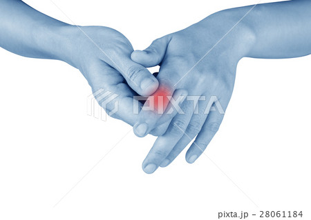 women has he painful finger on white background. 28061184