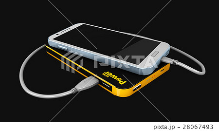 3d Illustration of Powerbank charging smartphone 28067493