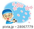 桜吹雪 撮る カメラのイラスト 28067779