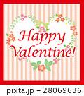 花模様のバレンタインカード■Happy Valentine!,ハート,赤■ 28069636