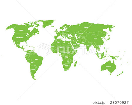 Green political World map with country borders and 28070927