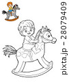 Coloring book, little boy on a rocking horse 28079409