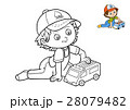 Coloring book, boy and ambulance car 28079482
