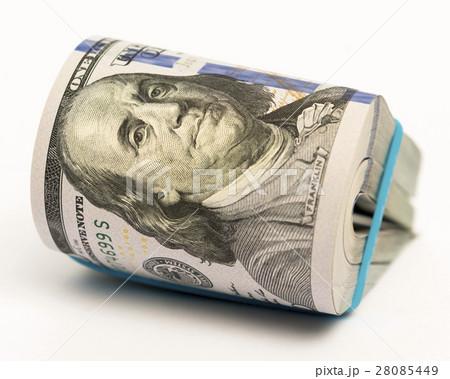 Stack of money in US dollars cash banknotesの写真素材 [28085449] - PIXTA