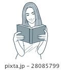 読書 本 女性のイラスト 28085799