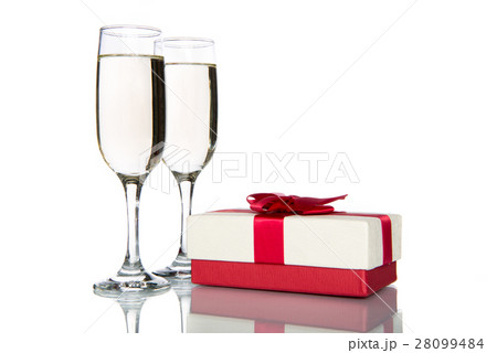 champagne with gift, celebration holidayの写真素材 [28099484] - PIXTA