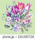 Vintage Flowers Watercolor Bouquet, Purple Tulips 28106726