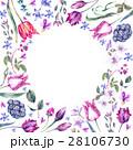 Vintage Flowers Watercolor Bouquet, Purple Tulips 28106730