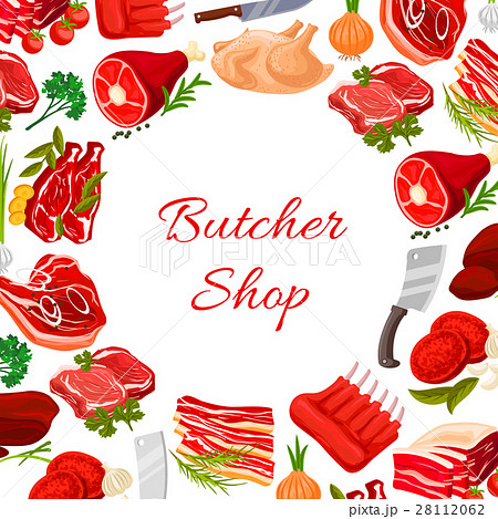 Butcher shop vector round poster of butchery meat 28112062