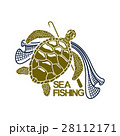 Sea fishing vector icon of turtle and fishing net 28112171