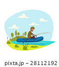 Fisher man fishing on boat with fish rod vector 28112192
