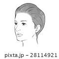 女性の顔(モノクロ加工用) 28114921