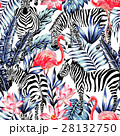 pink flamingo, zebra and blue palm leaves seamless 28132750