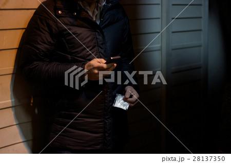 路地裏で覚醒剤・コカインなど危険ドラッグなど粉末状の薬物を持って携帯を操作する売人のイメージ写真素材 28137350