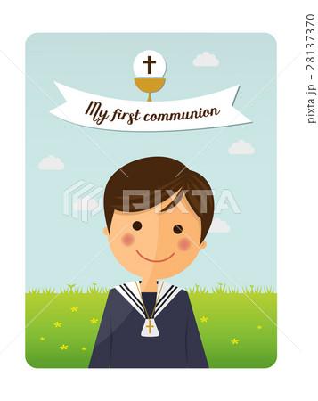 first communion child foreground invitation のイラスト素材 28137370