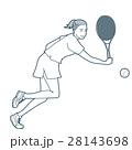 テニス 女性 ラケットのイラスト 28143698